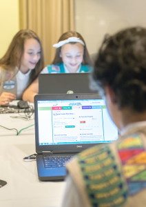 Girl Scouts Olivia and Isabella experience Digital Cookie for the first time